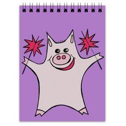 """Блокнот """"Розовый поросёнок с бенгальскими огнями"""" - арт, счастье, свин, розовый поросенок, бенгальский огонь"""