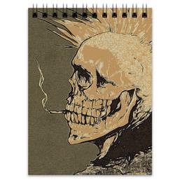 "Блокнот ""Панк-рок"" - skull, черепа, рок, стиль, скелет, rock, punk, панк, smoke, ирокез"