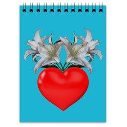 """Блокнот """"Цветет любовь"""" - сердце, любовь, цветы, природа, арт графика"""