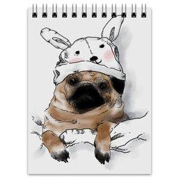 """Блокнот """"Мопс в шапочке"""" - заяц, пес, щенок, собака, мопс"""