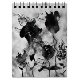 "Блокнот ""Черно-белые цветы. Абстракция"" - цветок, черно-белый, абстракция, оригинальный, фантазия"