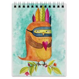 """Блокнот """"Рыжая Сова Индеец"""" - сердце, сова, акварель, индеец, любовь"""