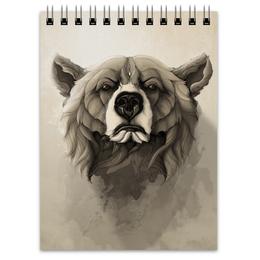 """Блокнот """"Медведь"""" - арт, bear, grizzly, гриззли"""