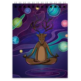 """Блокнот """"Аленивый Йог"""" - олень, медитация, лень, аленивый, духовное развитие"""