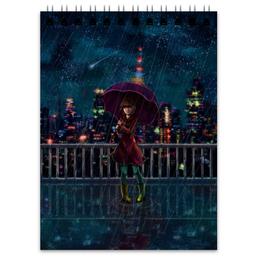 """Блокнот """"Ночь на крыше"""" - город, космос, ночь, дождь, звёзды"""