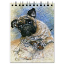 """Блокнот """"Мопс - хранитель писем"""" - pug, рисунок, собака, мопс, любителям собак"""
