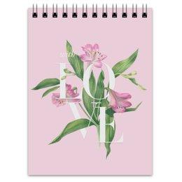 """Блокнот """"With love"""" - любовь, цветы, pink, акварель, watercolor flowers"""