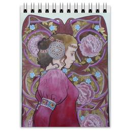 """Блокнот """"Задумчивость"""" - девушка, цветы, средневековье"""