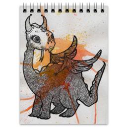 """Блокнот """"Дракоша"""" - дракон, клякса, dragon, акварель, фэнтези"""