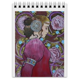 """Блокнот """"Задумчивость"""" - арт, девушка, цветы"""