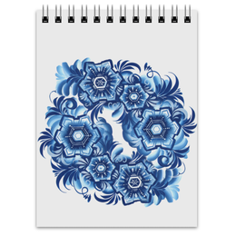 "Блокнот ""Снежинки"" - узор, белый, голубой, гжель, снежинка"
