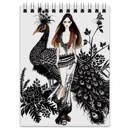 """Блокнот """"Fashion peacock"""" - цветы, black, мода, fashion, павлин"""