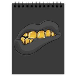"""Блокнот """"Золотая ухмылка"""" - золото, губы, улыбка, рот, зубы"""