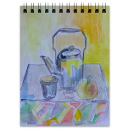"""Блокнот """"На кухне"""" - стакан, чай, яблоко, чайник"""