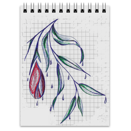 """Блокнот """"цветок"""" - цветок, рисунок, природа, тетрадные клетки"""