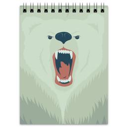 """Блокнот """"Медведь"""" - медведь, оскал, bear"""