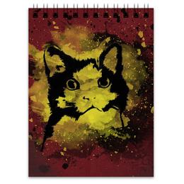 """Блокнот """"Notebook"""" - кот, арт, рисунок, брызги"""