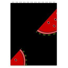 """Блокнот """"Затаившийся арбуз"""" - фрукты, черный, ягоды, арбуз, яркий"""