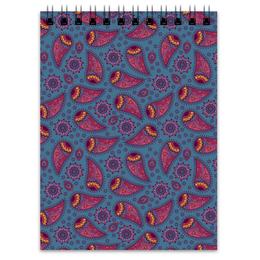 "Блокнот ""Индийский огурец"" - арт, цветы, узор, орнамент, индийский огурец"