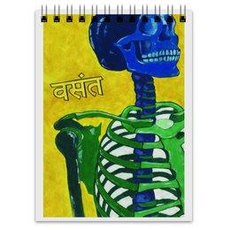 """Блокнот """"Разноцветный скелет на желтом фоне"""" - разноцветный, весна, хинди, череп, скелет"""