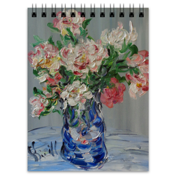 "Блокнот ""Пионы"" - весна, красота, сад, цветочки, ваза"