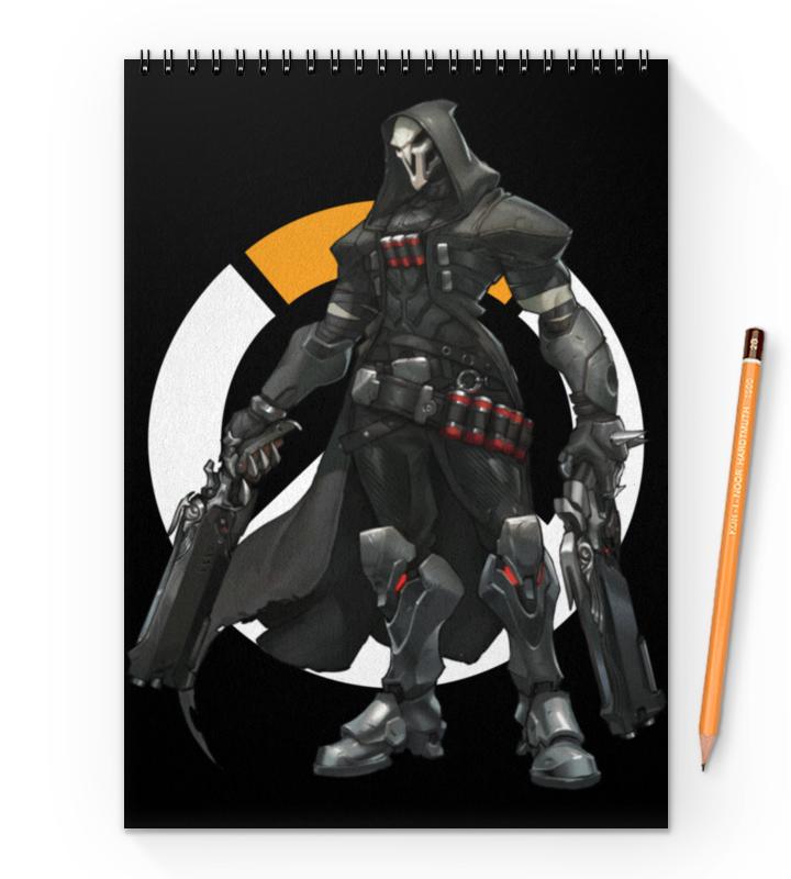 Блокнот на пружине А4 Printio Overwatch reaper / жнец овервотч