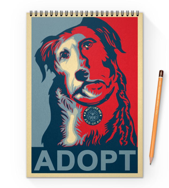 Блокнот на пружине А4 Printio «adopt a dog!», в стиле плаката плакат a3 29 7x42 printio adopt a dog