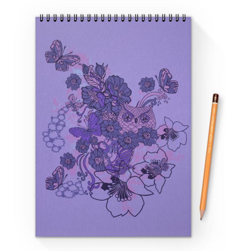 Блокнот на пружине А4 Printio Сова в цветах блокнот на пружине а4 printio сова в цветах
