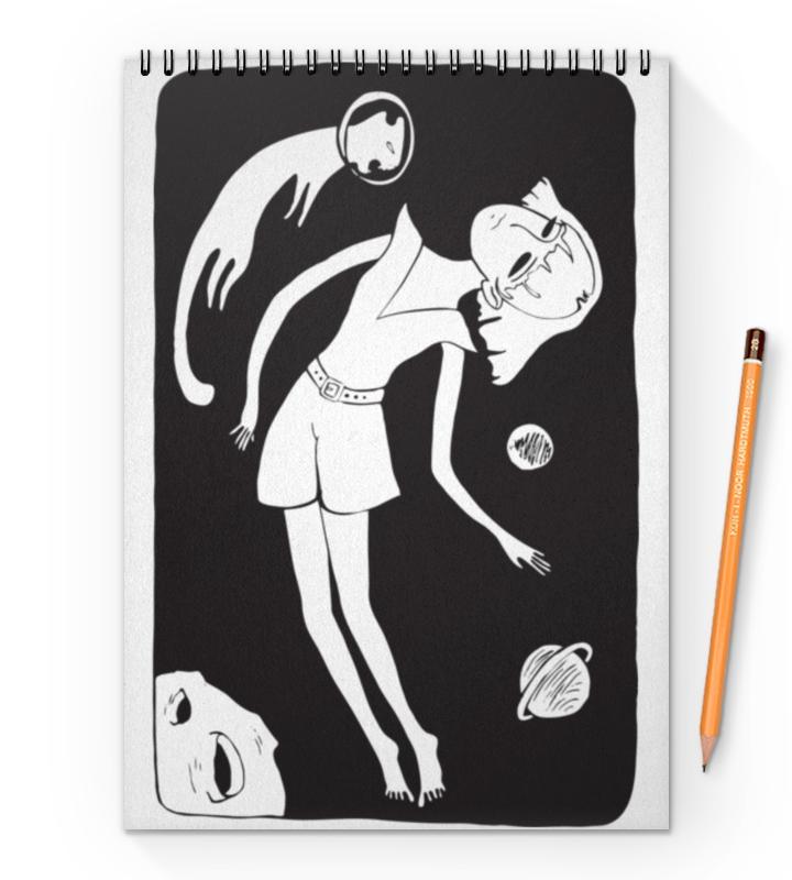 Блокнот на пружине А4 Printio Девочка и кот карамба блокнот девочка с прической с лентами 80 листов в линейку