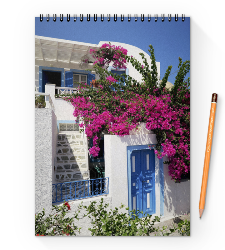 Блокнот на пружине А4 Printio греция. остров санторини блокнот на пружине а4 printio сова в цветах