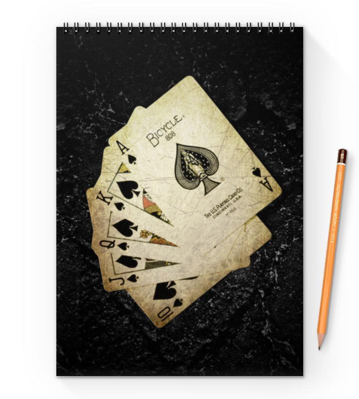 Блокнот на пружине А4 Printio Royal flush набор для покера royal flush на 300 фишек rf300