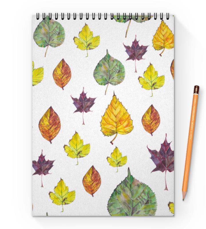 Блокнот на пружине А4 Printio Осенние листья длинные осенние кaрдигaны