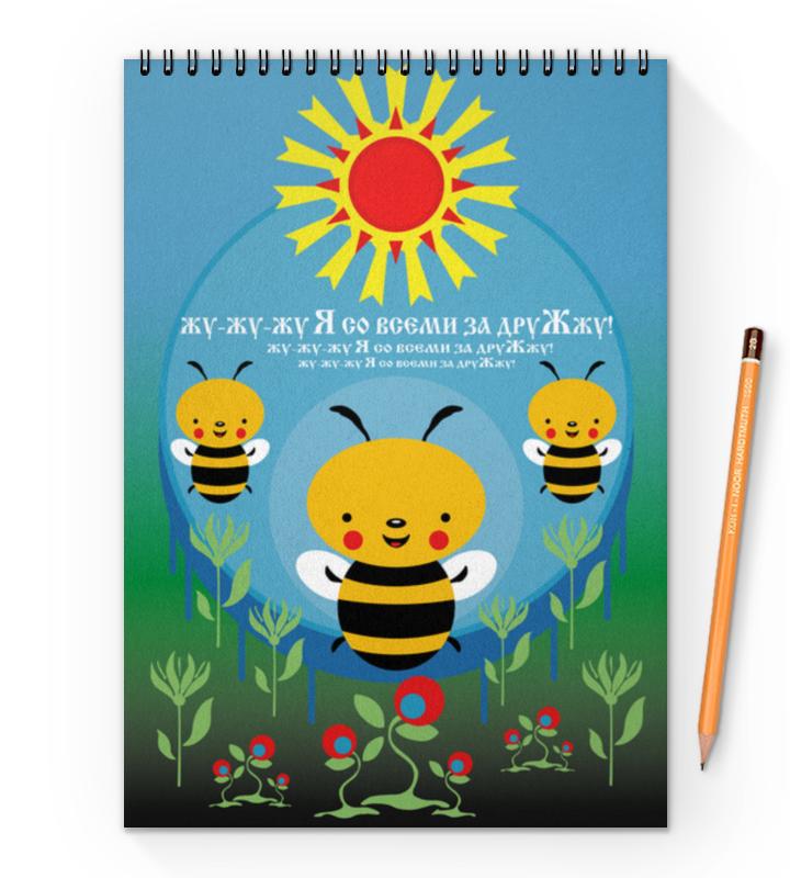 Блокнот на пружине А4 Printio Пчелка жужа ид леда книга пазл на лесной поляне