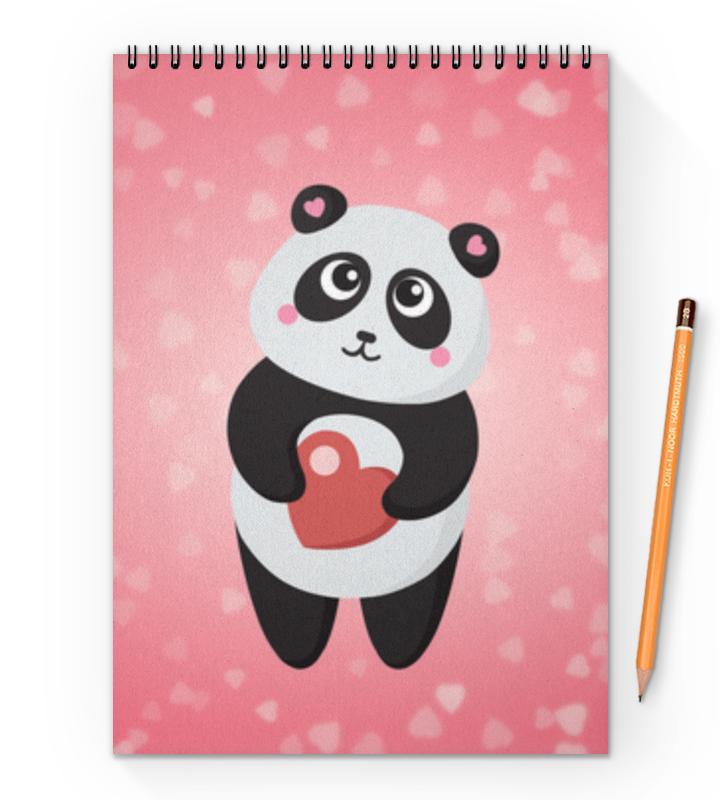 Блокнот на пружине А4 Printio Панда с сердечком кружка с сердечком на дне