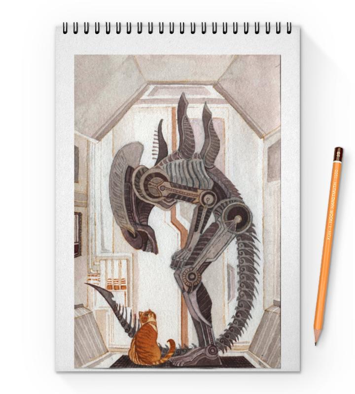 Блокнот на пружине А4 Printio Чужой и котик блокнот на пружине а4 printio чародейки witch autumn