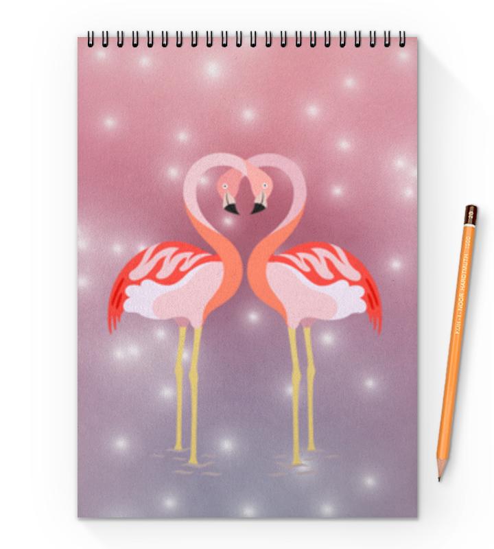 Блокнот на пружине А4 Printio Влюбленные фламинго планшет а4 фламинго лам картон