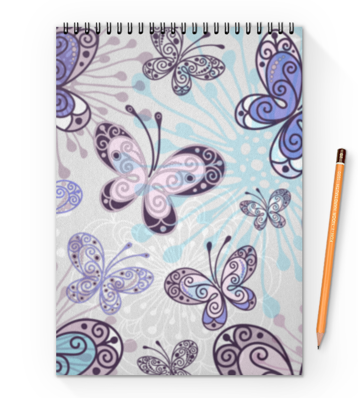 Блокнот на пружине А4 Printio Фиолетовые бабочки бра lussole loft lsp 9142