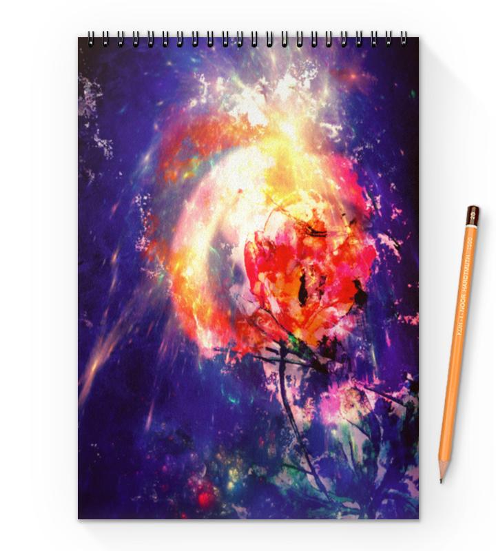 Блокнот на пружине А4 Printio Космический тюльпан