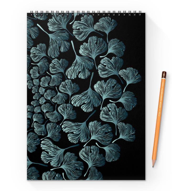 Блокнот на пружине А4 Printio Орнамент из серо-зеленых листьев гинкго блокнот art blanc origin 8 5х16 см 96 листов клетка
