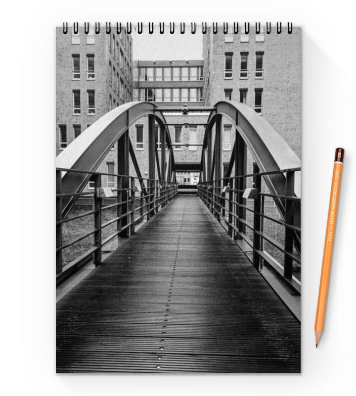 Блокнот на пружине А4 Printio Мост через эльбу, гамбург