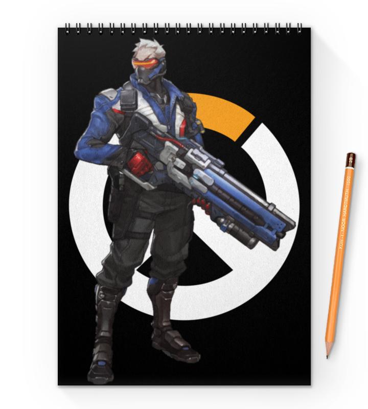 Блокнот на пружине А4 Printio Overwatch soldier 76 / овервотч солдат 76