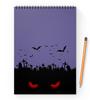 """Блокнот на пружине А4 """"Взгляд оттуда"""" - хэллоуин, рисунок, взгляд, летучие мыши, кладбище"""
