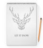 """Блокнот на пружине А4 """"Dear Deer"""" - рисунок, дизайн, олень, минимализм, рога"""