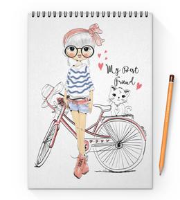 """Блокнот на пружине А4 """"Девушка и котёнок"""" - девушка, велосипед, котёнок, друг"""