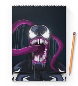 """Блокнот на пружине А4 """"Веном (Venom)"""" - комиксы, venom, марвел, веном, симбиот"""
