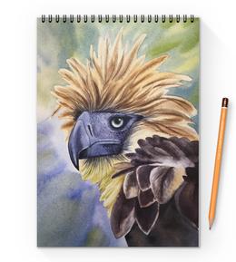 """Блокнот на пружине А4 """"Филиппинский орел """" - птица, фиолетовый, орел, иллюстрация, перья"""