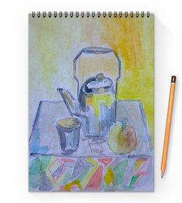 "Блокнот на пружине А4 ""На кухне"" - стакан, чай, яблоко, чайник"