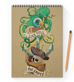 """Блокнот на пружине А4 """"Осьминог"""" - череп, якорь, old school, татуировка, пират"""