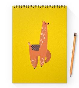 """Блокнот на пружине А4 """"альпака"""" - животные, пустыня, мульт, верблюд, альпака"""