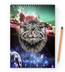 """Блокнот на пружине А4 """"Кот в космосе"""" - кот, звезды, котенок, космос, коты в космосе"""